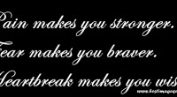 Pain makes you stronger. Fear makes you braver. Heartbreak makes you wiser.