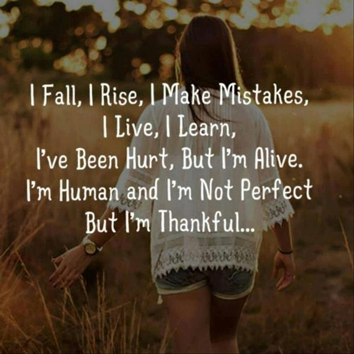 I fall, I rise, I make mistakes, I live, I learn, Ive been hurt but Im alive. Im human, Im not perfect but Im thankful.